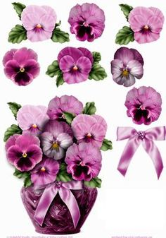 Pink Pot Of Pansies Shaped Card with decoupage on Craftsuprint designed by Robyn Cockburn - Take your pick - pink, blue or purple pansies now! Click on my name to view the other versions. To create a template for the base card fold your base card in half first then just trace around the outline of the main image and cut out, leaving a portion attached at the left.  - Now available for download!