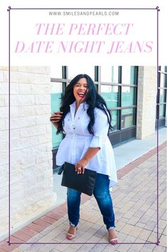 I'm talking all about the new Flex magic waistband jeans. Curvy Fashion, Plus Size Fashion, Peplum Top Outfits, White Top And Jeans, Perfect Date, Plus Size Model, Night Outfits, Trendy Plus Size, Affordable Fashion