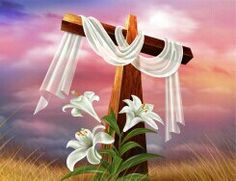 Happy Easter Cross With White Easter Lily's