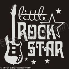 1885 - Little Rockstar-little rockstar stencil guitar electric rock star