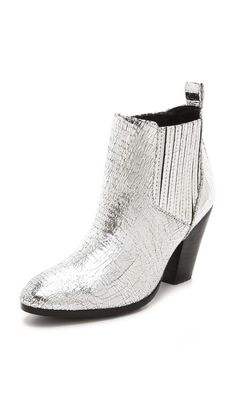 Zadig & Voltaire's Jermaine Metallic Booties transform classic ankle boots into a cool style statement with a crackled metallic finish. Silver Boots, Metallic Boots, Bootie Boots, Ankle Boots, Cool Style, My Style, Zadig And Voltaire, Crazy Shoes, Pumps