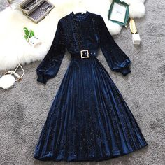 Stylish Dresses For Girls, Stylish Outfits, Cute Dresses, Casual Dresses, Girls Fashion Clothes, Teen Fashion Outfits, Skirt Fashion, Fashion Dresses, Velvet Dress Designs