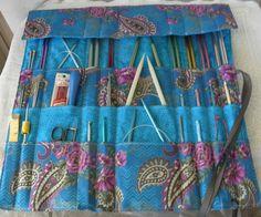 Knitting Needle Case, Knitting Needle Organizer, Knit/Crochet Needle Storage, 30 Pockets, Ready to Ship by CilesBoutique on Etsy