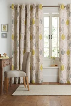 Buy Textured Leaf Print Eyelet Curtains from the Next UK online shop Cool Curtains, Curtains With Blinds, Latest Curtain Designs, Living Room Tv, Dining Room, Interior Decorating, Interior Design, Living Room Inspiration, 27 Life Hacks