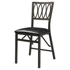 Metal folding chair with a latticework back and padded seat. Product: Folding chairConstruction Material: Metal...