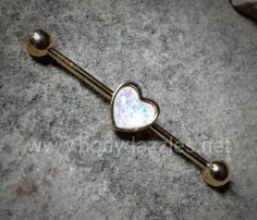 Golden Heart Inlay Industrial Barbell 14ga Surgical Steel Body Jewelry