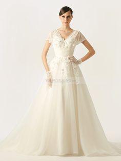 Roderiga - una línea escote en v vestido de novia de tul