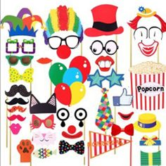 36X/Set Circus Clown Birthday Party Photo Masks Booth Props Mustache On A Stick