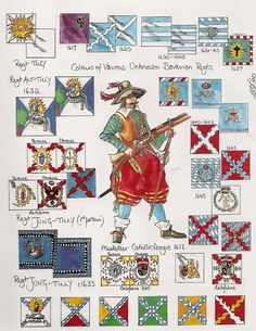 """ They are from an issue of Wargames Illustrated in the mid By Peter Dennis (IIRC) who did a lot of similar uniform and flag guides for the. 17th Century Clothing, Osprey Publishing, Military Tactics, Thirty Years' War, France Flag, Nautical Flags, Country Maps, Modern Warfare, Military History"