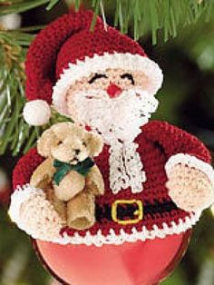 Santa Christmas Tree Ornament Crochet Pattern 99P