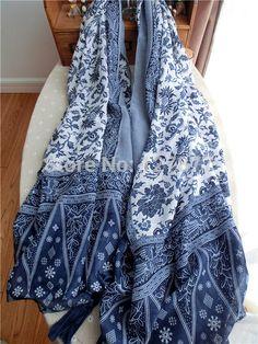 Chinês estilo nacional retro azul e branco porcelana de comércio de algodão e linho literária elegância lenços grande xale
