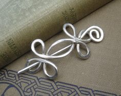 Celtic Double Crossed Loops Sterling Silver Shawl Pin, Scarf Pin, Sweater Brooch, Fastener, Closure - Celtic Accessory, Knitting, Women