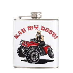 old man on 4 wheeler, atv eat my dust flask hip flask and travel mugs, cups
