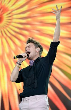 Mark Owen of Take That performs on stage. Kevin Mazur/One Love Manchester/Getty Images for One Love Manchester Mark Owen, Gary Barlow, World's Most Beautiful, Sweet Memories, Music Bands, My Music, Manchester, First Love, Take That