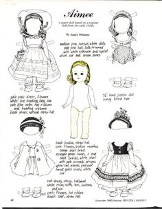 Amiee based on a poplar doll of the Paper Toys, Paper Crafts, Vintage Coloring Books, Paper People, Image Paper, Paper Animals, Black And White Drawing, Vintage Paper Dolls, Colored Paper