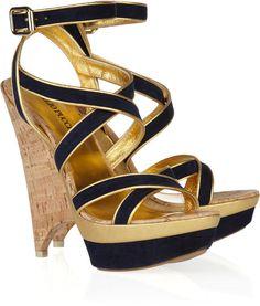 Emilio Pucci Suede Multistrap Platform Sandals in Blue