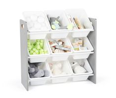 Free 2-day shipping. Buy Humble Crew Grey/White Kids Toy Storage Organizer w/ 9 Plastic Bins, Inspire Collection at Walmart.com Kids Playroom Storage, Toy Storage Bins, Toy Bins, Toy Organization, Playroom Ideas, Sunroom Playroom, Toy Storage Organizer, Extra Storage, Storage Containers