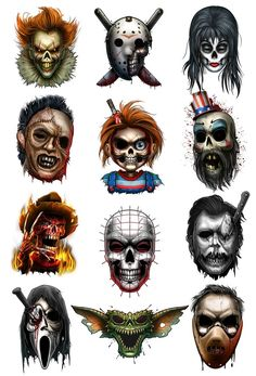May they all Rest In Pieces…we sliced and diced up your favorite horror characters in this wickedly frightening tattoos series They are sure to bring out a scream in anyone who sees them! Series of 12 Tattoo designs include Captain Chucky Elvi - # Horror Movie Tattoos, Scary Tattoos, Horror Movie Characters, Icp Tattoos, Tattoos Skull, Diy Tattoo, Mascara Do Jason, Chucky Tattoo, Horror Drawing