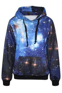 #Spring #AdoreWe #Oasap.com - #Azbro Mysterious Galaxy Print Women Long Sleeves Hoodie - AdoreWe.com