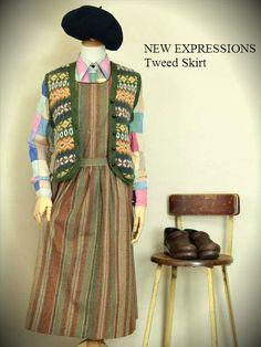 レディース古着 NEW EXPRESSIONS BY bobbie brooks ストライプ柄 ツイード ロング丈ジャンパースカート http://littletree-usa.com/blog/2014/09/13/2211