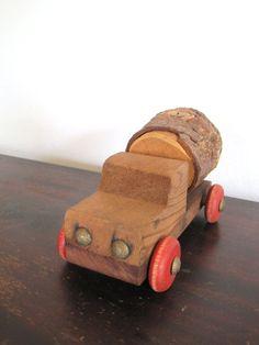 .....Vintage Handmade Wooden Toy Logging Truck