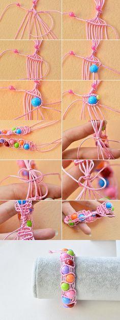 Wanna this thread braided bracelet? LC.Pandahall.com will publish the tutorial soon.   #pandahall Beaded Bracelets Tutorial, Thread Bracelets, Thread Jewellery, Seed Bead Bracelets, Handmade Bracelets, Bangle Bracelets, Diy Macrame Friendship Bracelets, Braided Bracelets, Macrame Bracelets