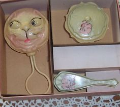 Celluloid Dresser Set Rattle Brush and Covered Dish