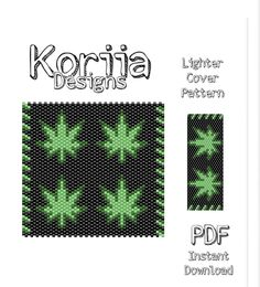 Excited to share this item from my shop Mature 18 Lighter cover Peyote Stitch Pattern beading pattern PDF miyuki seed bead delica Green Black pot leafs Peyote Stitch Patterns, Bead Crochet Patterns, Bead Embroidery Patterns, Seed Bead Patterns, Weaving Patterns, Knitting Patterns, Art Patterns, Mosaic Patterns, Beading Tutorials
