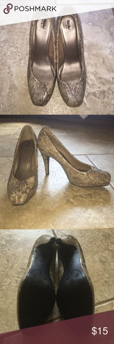 Snakeskin Heels Snakeskin Heels by Mossimo. Size 7. Re-posh...I LOVE these...but they are too small for me. Great used condition. Mossimo Supply Co Shoes Heels