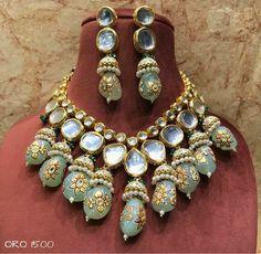 Sabyasachi wedding necklace, Big Size Hand Painted Onyx, Meenakari- Kundan Necklace/ Jewelry with drop earrings, Rajwada necklace Bridal Necklace Set, Wedding Jewelry, Jewelry Party, Pearl Necklace, Stylish Jewelry, Fashion Jewelry, Unique Jewelry, Indian Jewelry Sets, Jewelry Necklaces