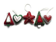 Felt christmas ornaments, set of 5, Red green white, Christmas Ornaments, Holiday, Xmas, Hanging ornaments on Etsy, $23.00