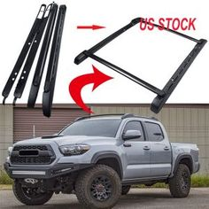 MotorFansClub Black Roof Rail Crossbars Kits for Toyota Tacoma Double Cab OE Style Luggage Cargo Bar Rack US Stock Toyota Tacoma Bed Cover, Toyota Tacoma Roof Rack, Toyota Tacoma Double Cab, Tacoma Truck, Tacoma Toyota, Truck Roof Rack, Toyota Tacoma Accessories, Truck Bed Accessories, 4x4 Trucks