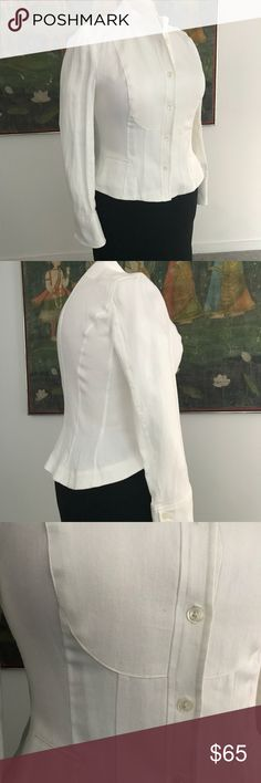 A Classic Ralph Lauren linen jacket Fitted and cropped with long sleeves and buttoned cuffs. In classic style, this jacket notches up the chic points even with jeans. Unlined. Dry clean only. Lauren Ralph Lauren Jackets & Coats Blazers