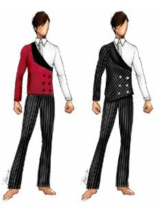 Marcos de Niza 2013 male costume (with modifications to match the female… Colour Guard, Color Guard Flags, Ballet Costumes, Dance Costumes, Color Guard Costumes, Creative Costuming Designs, Marching Band Shows, Color Guard Uniforms, Costume Design Sketch