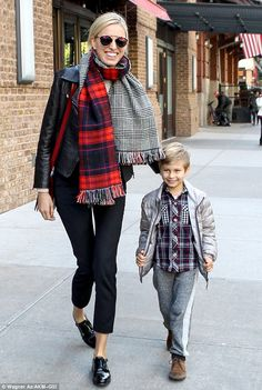 Mother-son time: Czech supermodel Karolina Kurkova headed out in NY with her five-year-old son Tobin on Tuesday