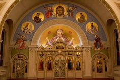 Mary's Orthodox Cathedral in Minneapolis, Minnesota: 1887 era Russian Orthodox church in Minneapolis. Religious Architecture, Art And Architecture, Byzantine Icons, Russian Orthodox, Early Christian, Place Of Worship, Romanesque, Here Comes The Bride, Fresco