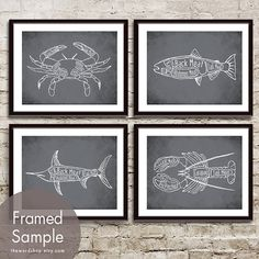 Crab, Salmon, Swordfish and Lobster Butcher Diagram Seafood Series - Set of 4 11x14 Prints (Featured in Charcoal) on Etsy, $47.85