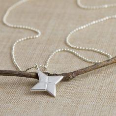 Origami Shuriken (Ninja Star) Necklace. $52.00, via Etsy.