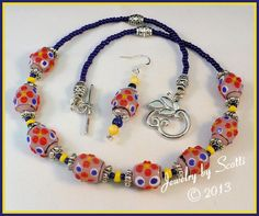 Lampwork Glass Necklace // Bumpy Beads // Blue Orange Yellow // Silver Leaf Toggle Clasp // SRAJD #bestofEtsy #fashion