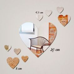 Mirror, Home Decor, Vintage, Acrylic Mirror, Heart Shapes, Decorative Mirrors, Carton Box, Gifts, Embellishments