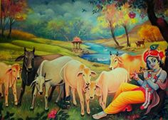 Radha Krishna Images, Krishna Pictures, Krishna Art, Hare Krishna, Creative Photography Poses, Indian Spirituality, Shree Krishna Wallpapers, Cow Painting, Blue Lotus