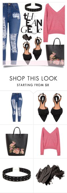 """""""Distressed Denim"""" by alaria ❤ liked on Polyvore featuring MANGO, Forever 21, Bobbi Brown Cosmetics and distresseddenim"""