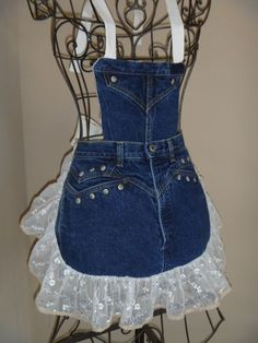 Denim Aprons - by Redneck Girl Aprons - Rocky jeans with metal studs, blinged lace with tiny crocheted edging, detachable bib #Denim #Apron ...