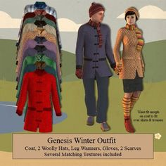 Genesis Winter Outfit - Coat Part 3. I can't even think up clothing this creative, much less create it. That's why I am soooo happy to download these! Thanks, Wilmap!!