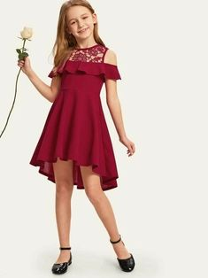 To find out about the Girls Guipure Lace Cold Shoulder Ruffle Trim Dress at SHEIN, part of our latest Girls Dresses ready to shop online today! Girls Dresses Online, Cute Girl Outfits, Kids Outfits Girls, Little Girl Dresses, Easter Dresses For Girls, Girls Dresses Size 8, Girls Fashion Clothes, Fashion Kids, Girl Fashion