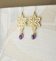 Gold Flower Lace Earrings with Purple Amethyst Gemstones / Stargazer Lily Earrings/ Gold Earrings/ Feminine Earrings/ Gemstone Earrings by YsmDesigns on Etsy