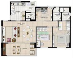 apartamento planta tipo 84m2 2 quartos 1 suite 2