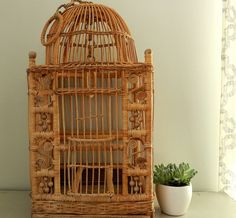Vintage Bird Cage Large Wicker Rattan Rustic... | Wicker Blog  www.wickerparadise.com