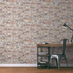 Papier peint NEW BRIQUE Vinyle sur Intissé imitation briques | Saint Maclou Deco, Salons, Remodeling, Flats, Paper Envelopes, Home Ideas, Lounges, Decor, Deko