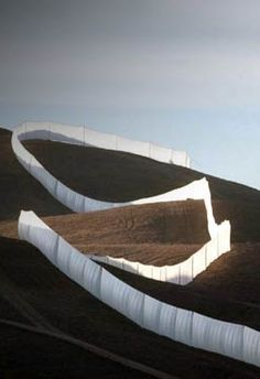 Christo and Jeanne-Claude, Running fence, Sonoma and Marin counties, California, 1972-76, photo by Wolfgang Volz